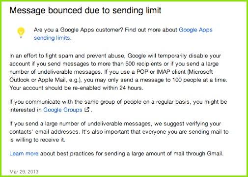 Gmail send limits flashissue