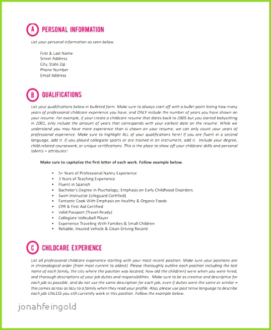 Resume Example with Babysitting Experience Awesome Nanny Resume Sample Nanny Resume 0d Nanny Resume Examples Resume