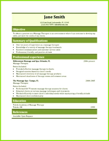 Massage therapy resume template