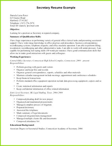 Resume puter Skills Examples Secretary Resume puter Skills