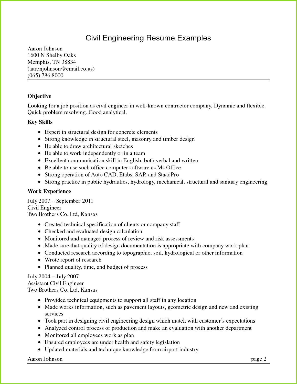 puter Engineering Resume Examples 165de6cf7 New Sample Civil Engineer Resume