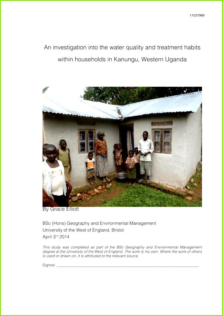 PDF Dissertation An investigation into the water quality and treatment habits within households in Kanungu Western Uganda