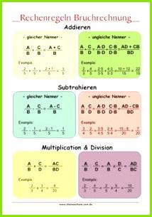 Rechenregeln Bruchrechnung Mathe Lernposter 4 5 Klasse