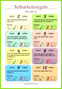 Teilbarkeitsregeln Erläuterung Mathe Lernposter für Grundschulkinder