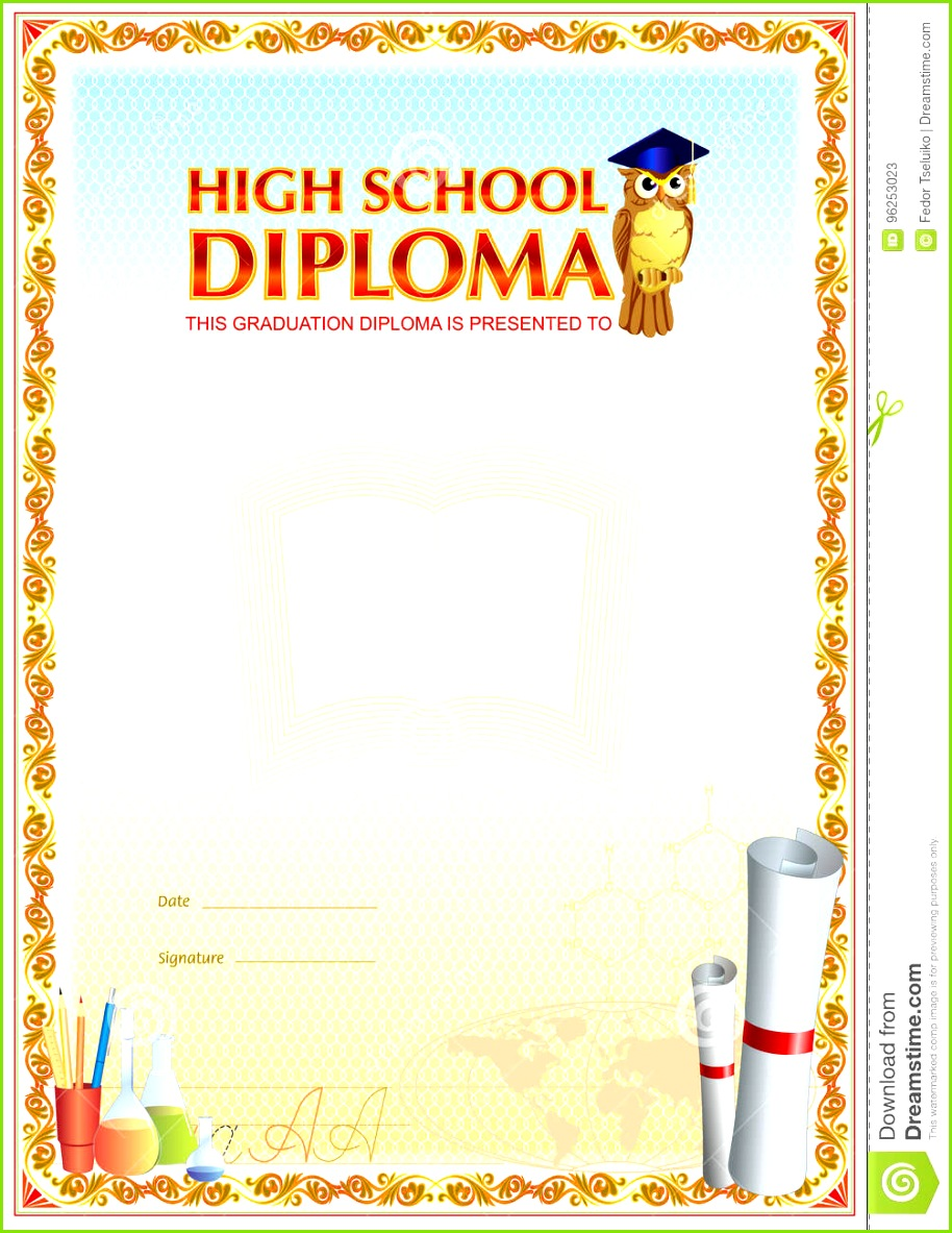 High school diploma blank template