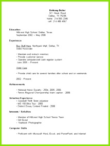 Resume Example For High School Student Sample Resumes resume