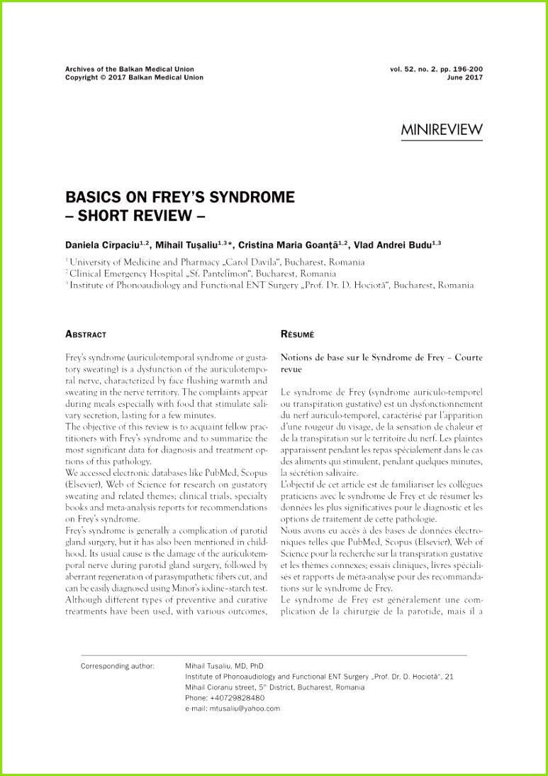 PDF Basics on Frey s syndrome Short review