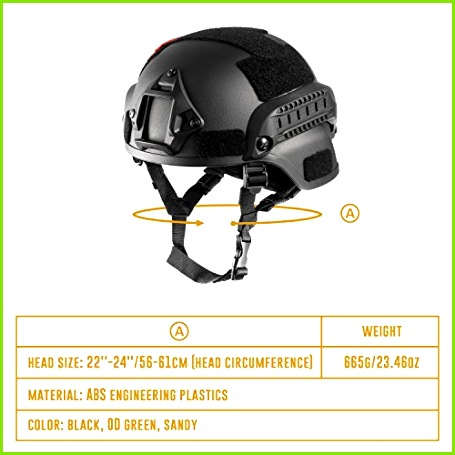 Amazon eTigris MICH 2000 Style ACH Tactical Helmet with NVG Mount and Side Rail Black Sports & Outdoors