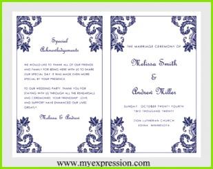 Hochzeit Programm Vorlage – Marine Damaris Ornament Instant Download bearbeitbaren MS Word Datei