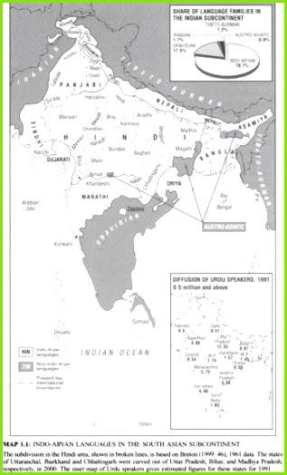 Sprachfamilien Südasiens Kartenvorlage für Staatsgrenzen Verbreitungsgebiet nachgezeichnet nach der Karte Language families and branches languages and