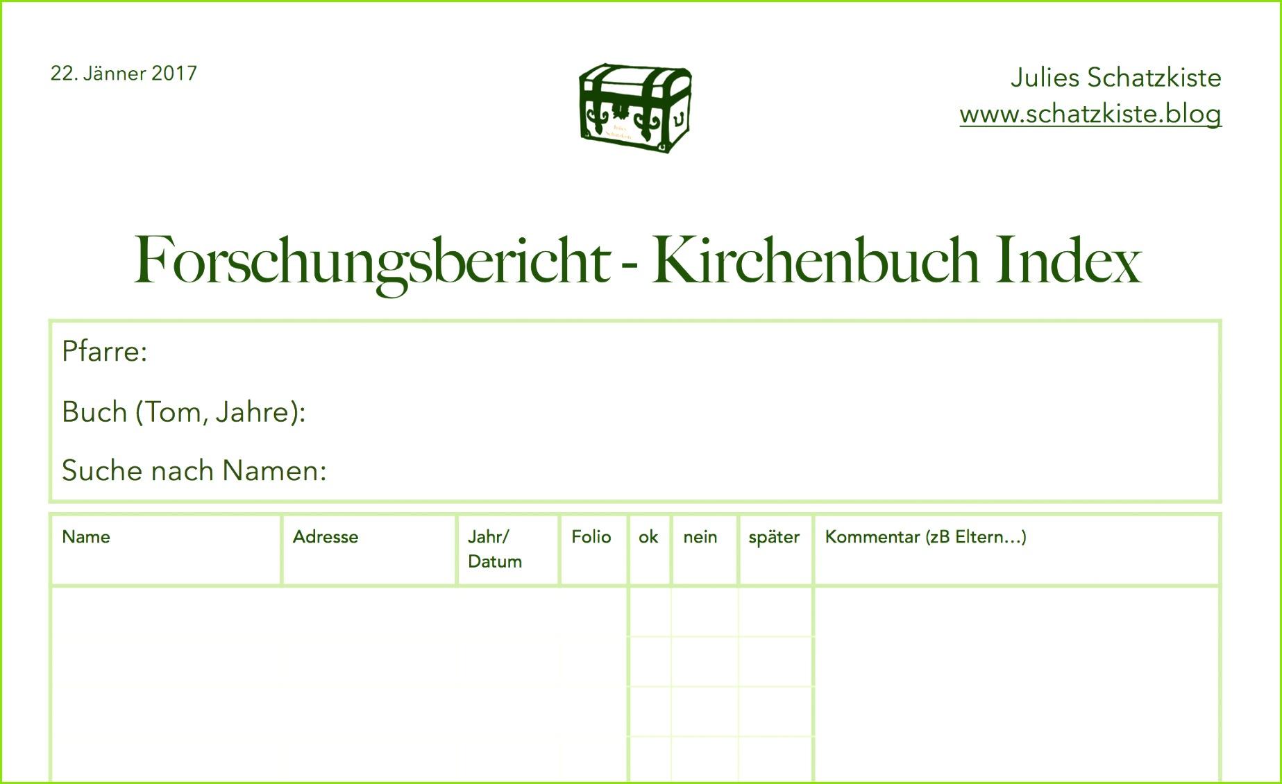 vorlage forschungsbericht kirchenbuch index