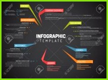 Vector Firma Infografik übersicht Design Vorlage mit bunten Etiketten dunkle Version