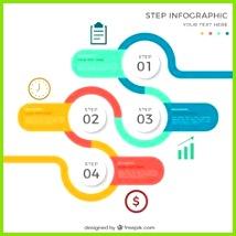 Kostenloser Download Vektor von Farbige Runde Infografik mit vier Stufen Infografik Grafiken Grafik Design