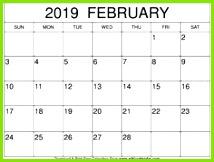 Februar 2019 Kalendervorlage Source by wikicalendar