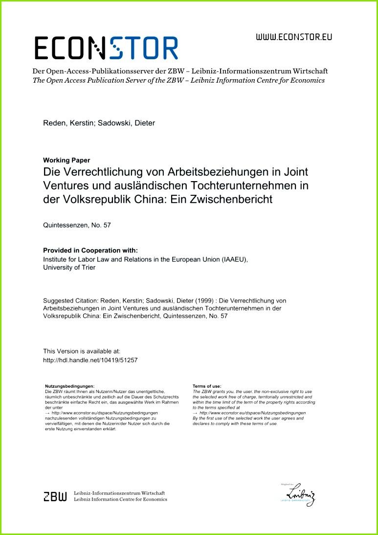PDF Die Verrechtlichung von Arbeitsbeziehungen in Joint Ventures und ausländischen Tochterunternehmen in der Volksrepublik China Ein Zwischenbericht