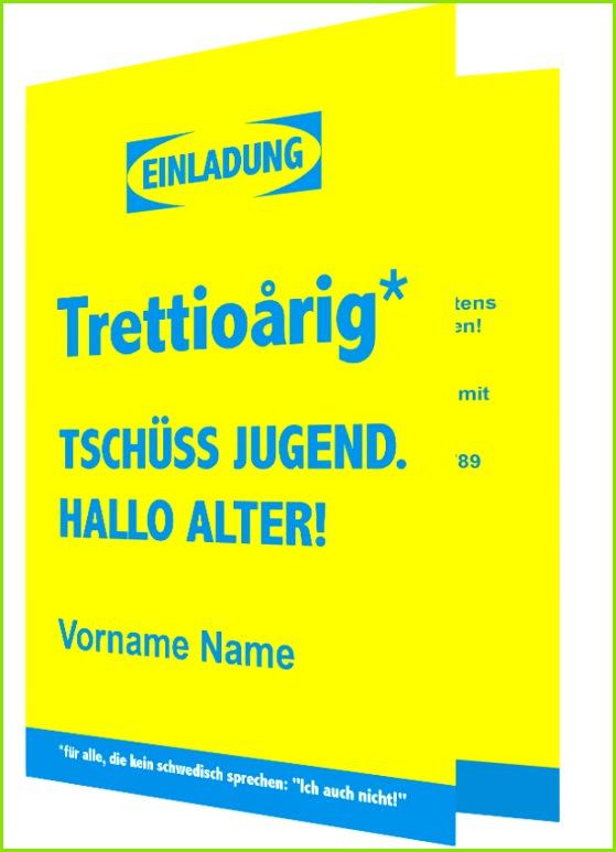 lustige Kartenvorlage Einladung 30 Geburtstag Schwedisch