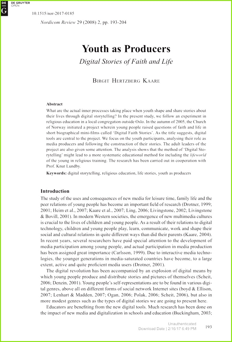 """PDF """"It Must Be Necessary It Has to Cover a Need"""" The Adoption of Mobile Telephony Among Pre Adolescents and Adolescents"""