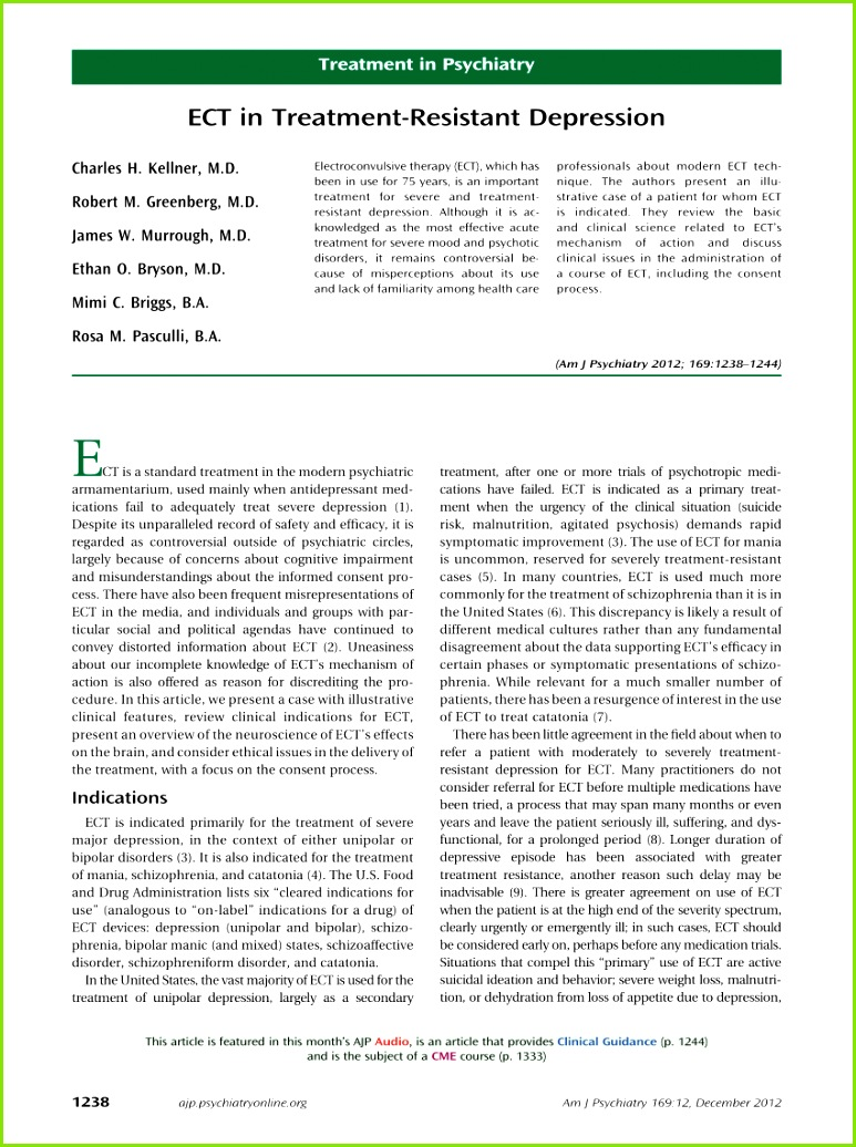 PDF ECT in Treatment Resistant Depression