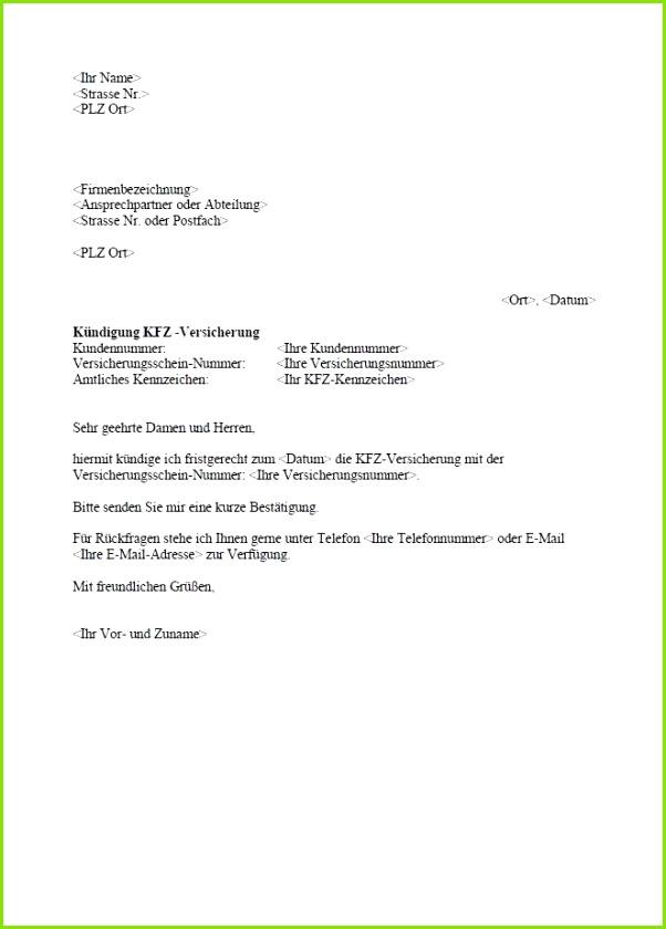 Kfz Versicherung Kündigen Vorlage Pdf Schön Musterkündigung – Kfz Versicherung Zum sofort Download