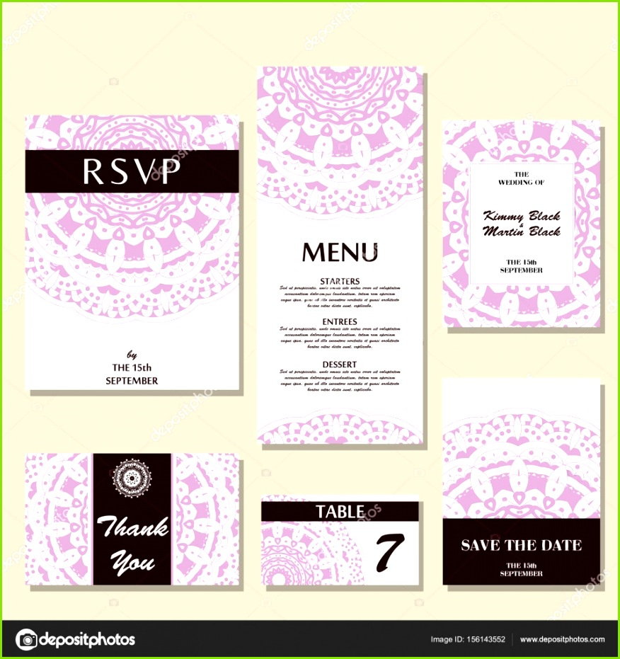 Hochzeit Karten Vorlage mit individuelles Konzept Design für Einladung Dankeschön