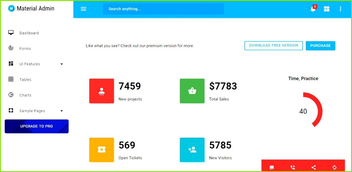 Unlike other admin templates in the list Material admin template is not built using Bootstrap