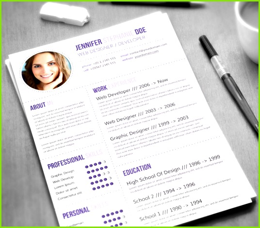modern purple resume