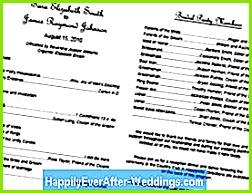 Drucken Sie kostenlose Hochzeitsprogramm Vorlagen