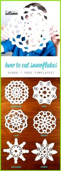 Learn how to cut snowflakes with this video tutorial and free snowflake templates Easy Christmas