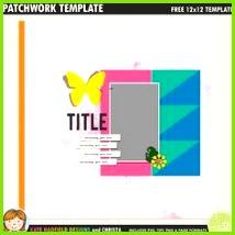 Free digital scrapbook template Patchwork Template 1