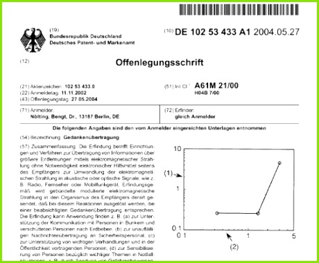patent dr bengt nölting gedankenübertragung mind control detlef stawicki 11 11 2002