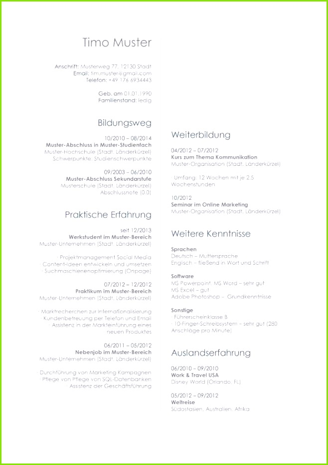 Lebenslauf Muster Vorlage 27 Architekt