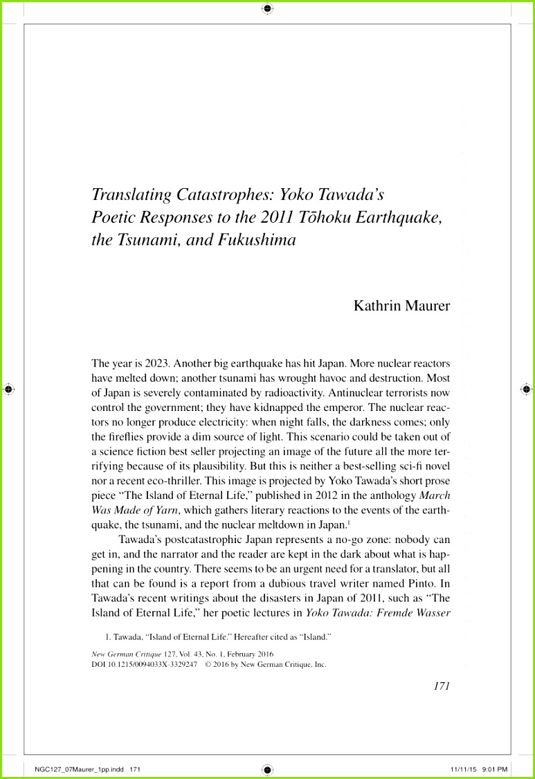 PDF Translating Catastrophes Yoko Tawada s Poetic Responses to the 2011 Tōhoku Earthquake the Tsunami and Fukushima
