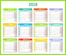 """Die Kalendervorlage """"bunter Jahreskalender mit Platz für Notizen"""" zeigt auf einer Seite alle 12"""