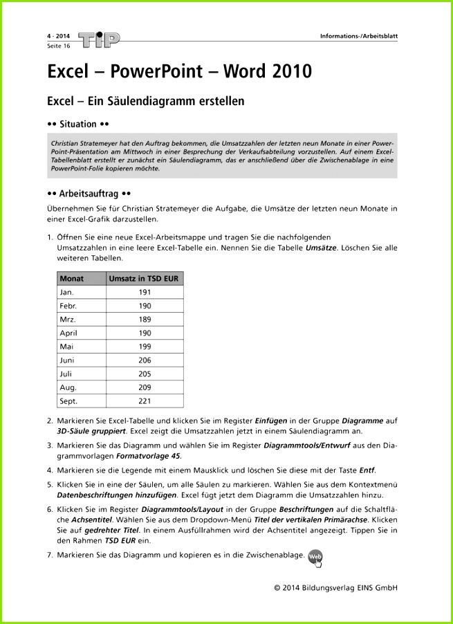 Excel PowerPoint Word 2010 Ein Säulendiagramm erstellen Folien mit Verlaufsfüllung Handzettel erstellen Diercke Webshop