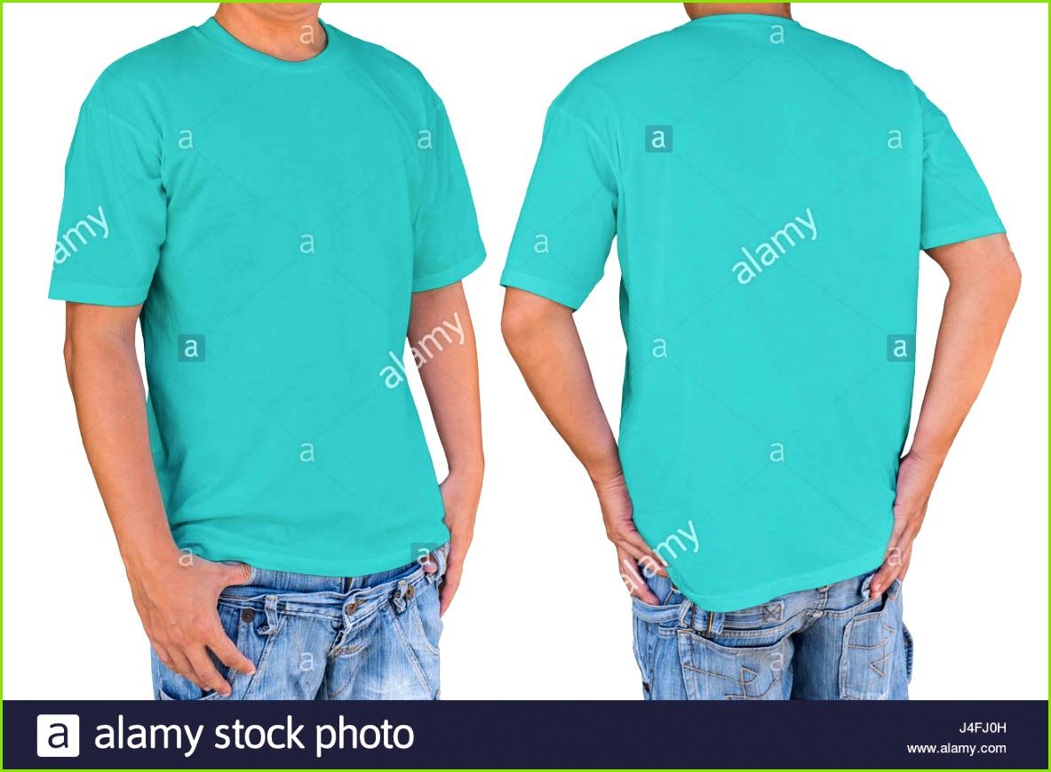 Mann mit leeren Cyan T shirt mit Beschneidungspfad Vorder und Rückansicht Vorlage