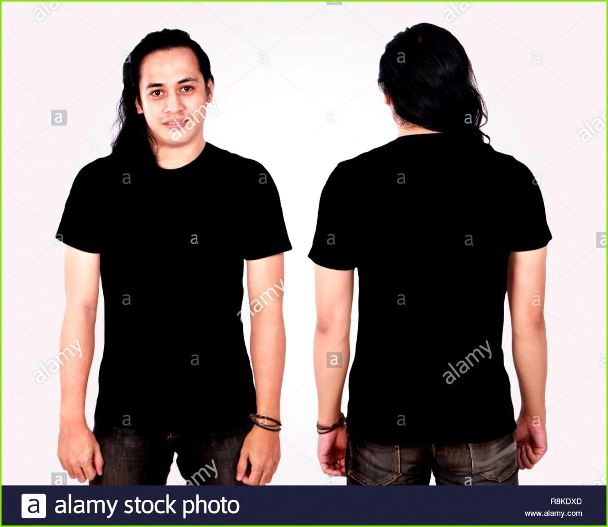 Foto Bild eines asiatischen Modell lächelnd und mit leeren schwarzen T Shirt vorne und