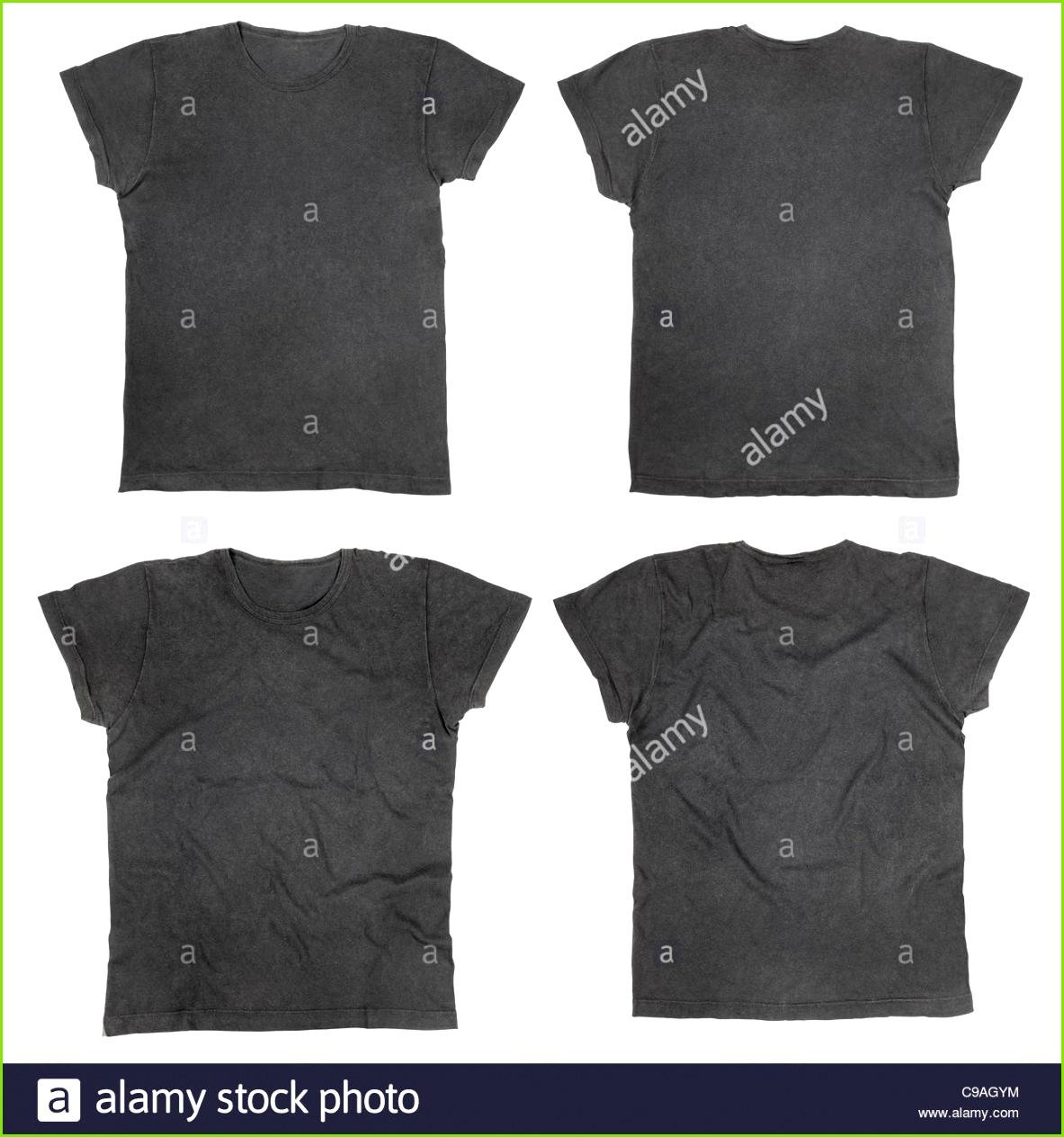 Leere schwarze T shirts Vorder und Rückseite Stockbild