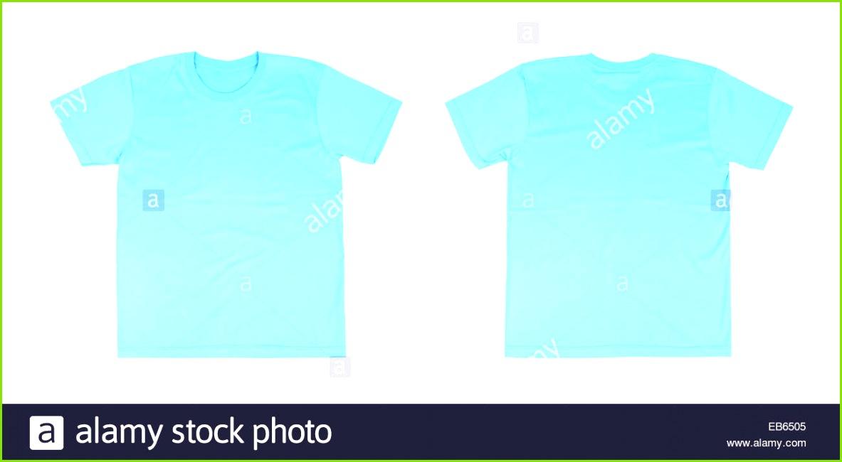 T Shirt Vorlage Set vorne hinten auf weißem Hintergrund Stockbild