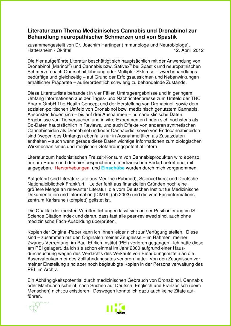 PDF Literatur zum Thema Medizinisches Cannabis und Dronabinol zur Behandlung neuropathischer Schmerzen und von Spastik