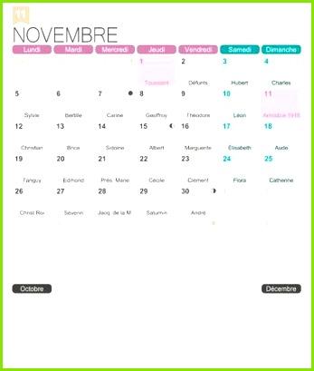 November 2018 französisch bedruckbare monatliche Kalendervorlage inkl Namenstage Mondphasen und offizielle Feiertage