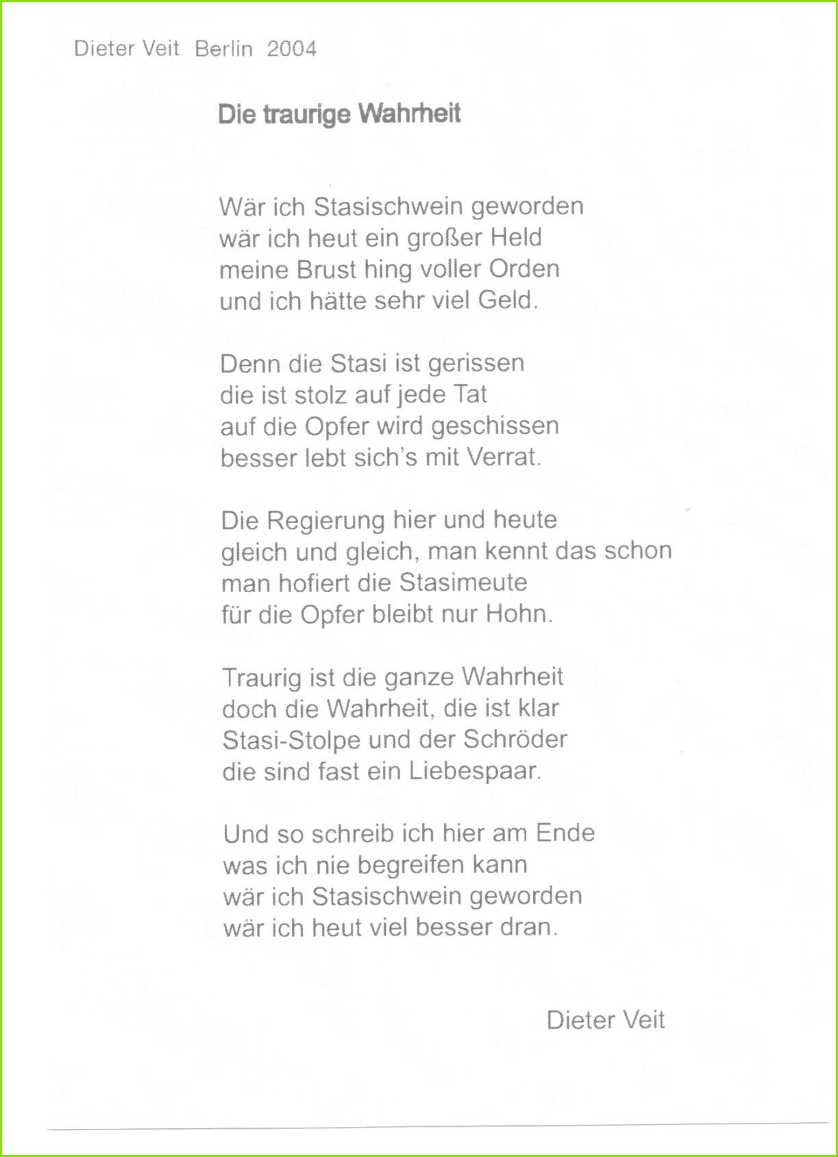 Ruhm und Ehre dem ungesühnten Folteropfer der STAZIS Dichter Dieter Veit der an Folgen der Folter gestorben ist Ich hatte das Glück sen