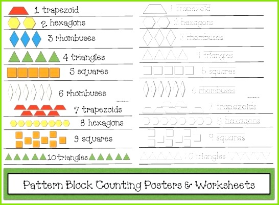 FREE Pattern Block counting posters & black and white worksheets Musterblockvorlagen Legespiele Kostenlose