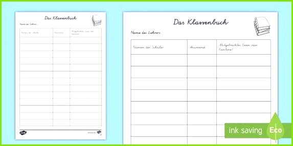 Gemütlich Lehrer Klassenbuch Vorlage Zeitgenössisch