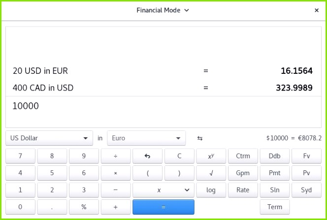 gnome calculator financial mode