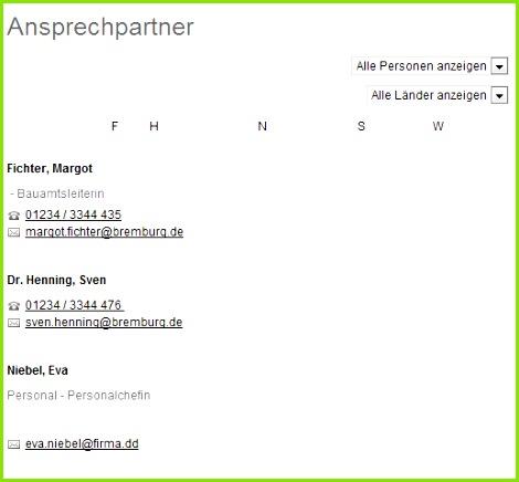 Personenverzeichnis mit Kategorienfilter als Auswahlbox
