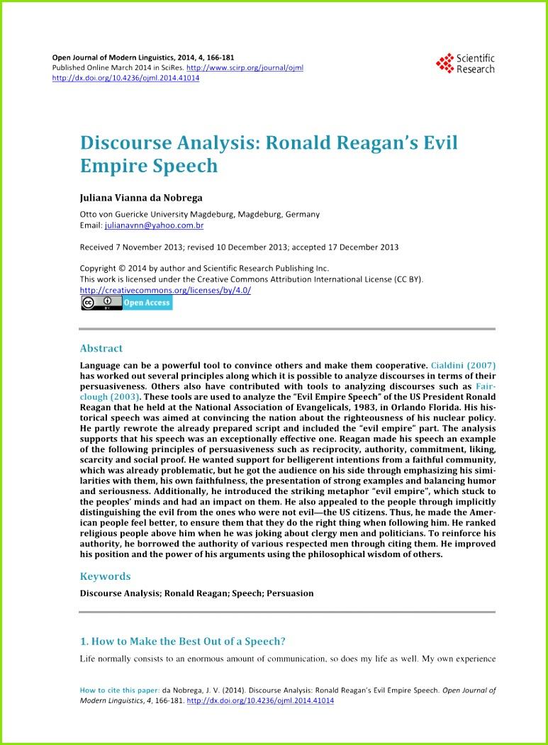 PDF Discourse Analysis Ronald Reagan s Evil Empire Speech