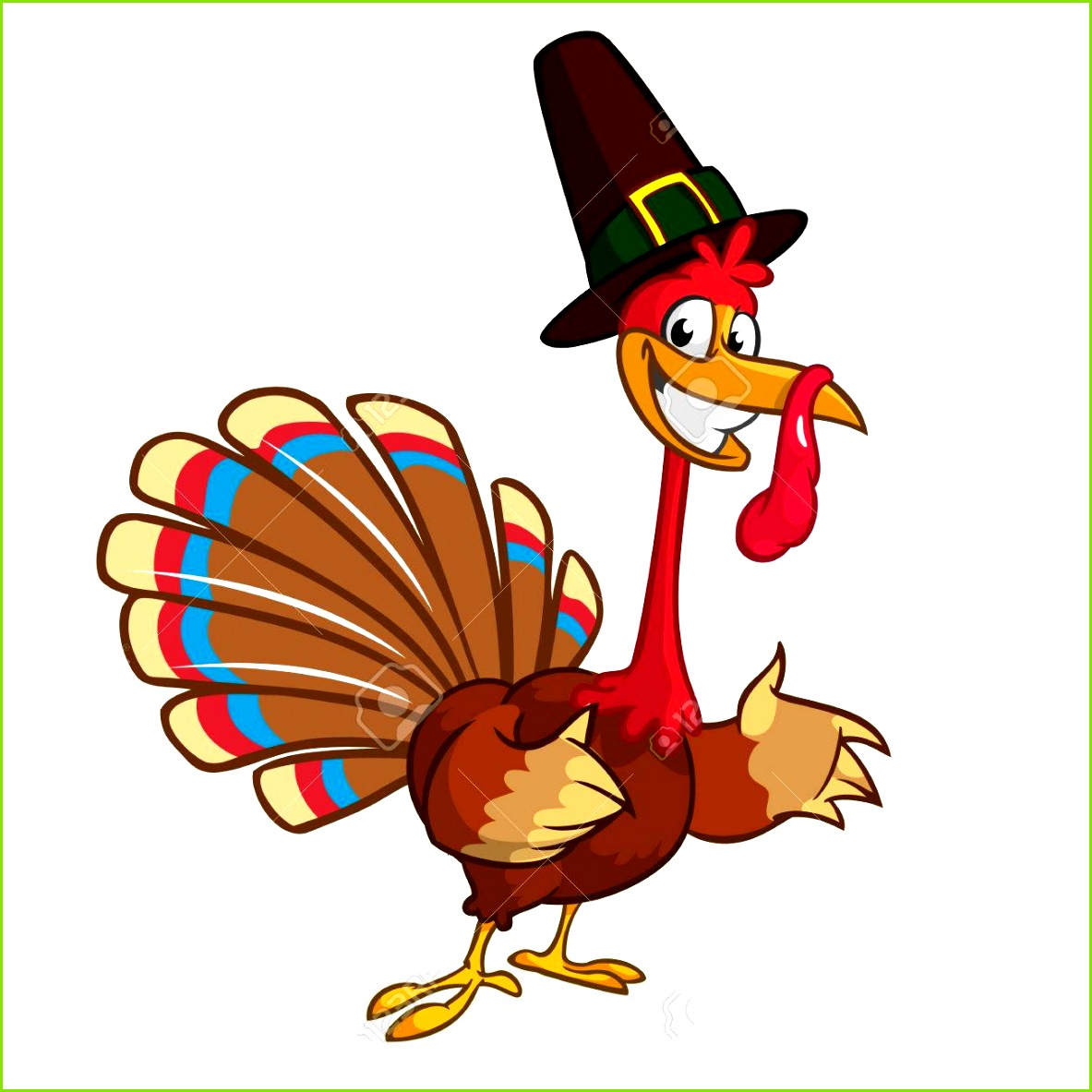 Cartoon Türkei in Pilger Hut Thanksgiving Vektor Illustration isoliert auf weißem Hintergrund Standard