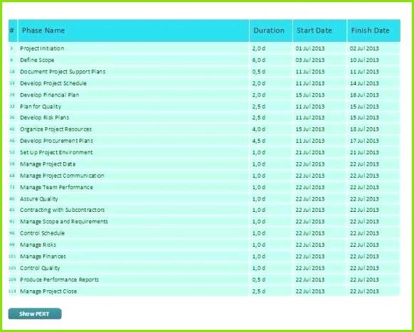 Projektvorlagenlistenvorlage Excel