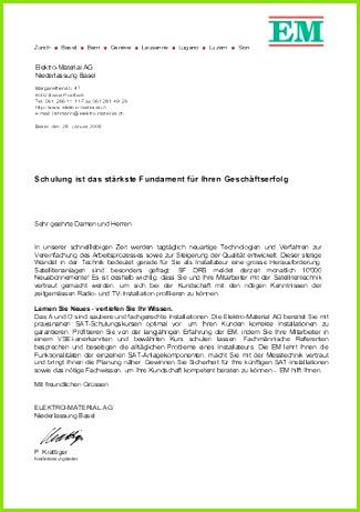 Briefvorlage EM Elektro Material AG