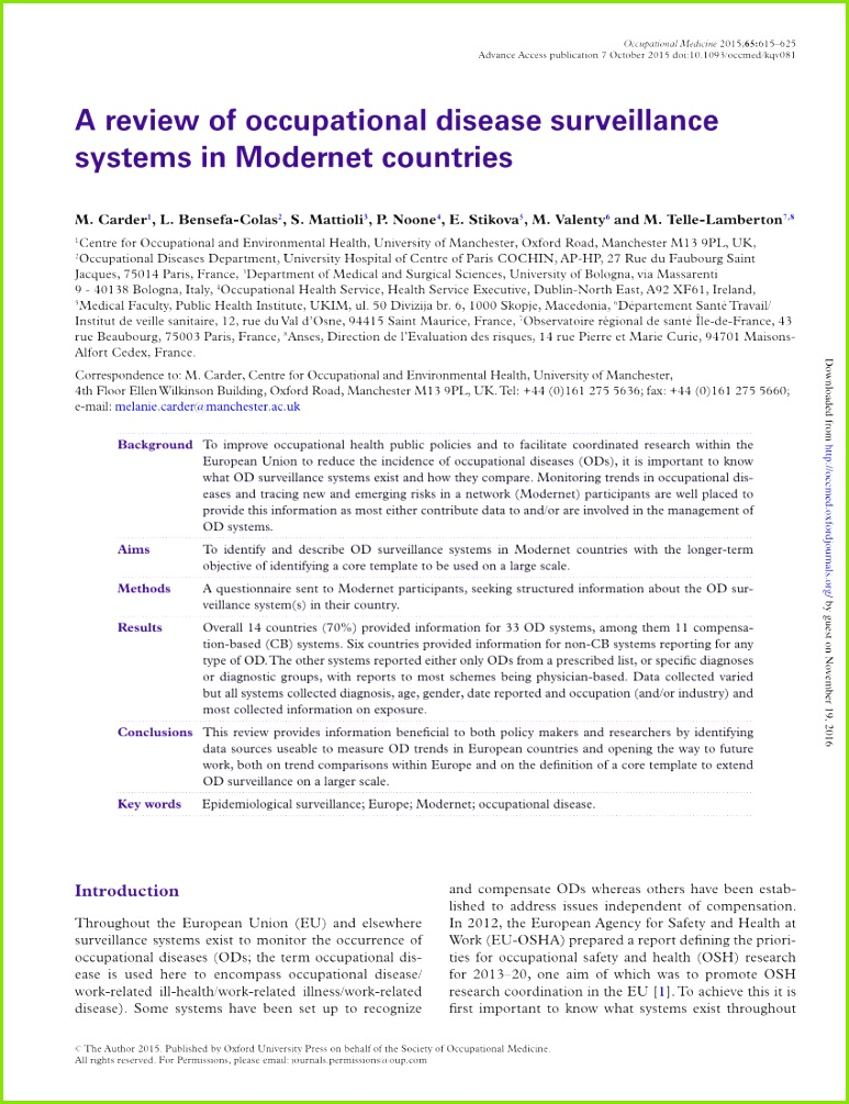 PDF A review of the different reporting systems for occupational diseases in the European countries participating in Modernet